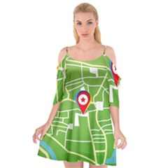 Map Street Star Location Cutout Spaghetti Strap Chiffon Dress