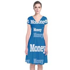Money White Blue Color Short Sleeve Front Wrap Dress