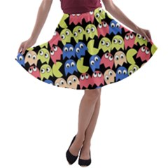 Pacman Seamless Generated Monster Eat Hungry Eye Mask Face Color Rainbow A-line Skater Skirt