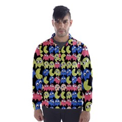 Pacman Seamless Generated Monster Eat Hungry Eye Mask Face Color Rainbow Wind Breaker (Men)