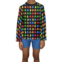 Pacman Seamless Generated Monster Eat Hungry Eye Mask Face Rainbow Color Kids  Long Sleeve Swimwear