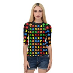 Pacman Seamless Generated Monster Eat Hungry Eye Mask Face Rainbow Color Quarter Sleeve Tee