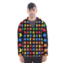 Pacman Seamless Generated Monster Eat Hungry Eye Mask Face Rainbow Color Hooded Wind Breaker (Men)