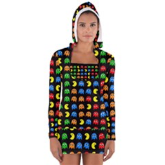 Pacman Seamless Generated Monster Eat Hungry Eye Mask Face Rainbow Color Women s Long Sleeve Hooded T-shirt