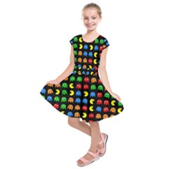 Pacman Seamless Generated Monster Eat Hungry Eye Mask Face Rainbow Color Kids  Short Sleeve Dress