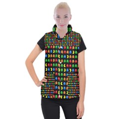 Pacman Seamless Generated Monster Eat Hungry Eye Mask Face Rainbow Color Women s Button Up Puffer Vest