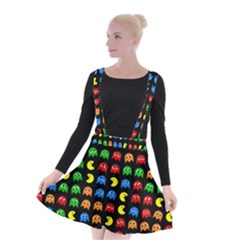 Pacman Seamless Generated Monster Eat Hungry Eye Mask Face Rainbow Color Suspender Skater Skirt