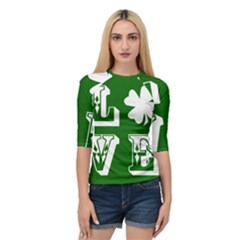 Parks And Tally Love Printable Green Quarter Sleeve Tee