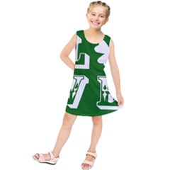 Parks And Tally Love Printable Green Kids  Tunic Dress