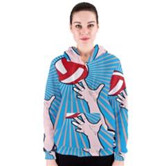 Volly Ball Sport Game Player Women s Zipper Hoodie