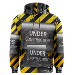 Under Construction Sign Iron Line Black Yellow Cross Men s Pullover Hoodie