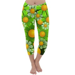 Sunflower Flower Floral Green Yellow Capri Winter Leggings