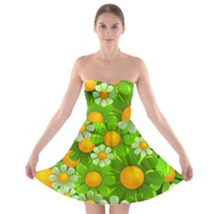 Sunflower Flower Floral Green Yellow Strapless Bra Top Dress