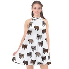 Pug Dog Pattern Halter Neckline Chiffon Dress