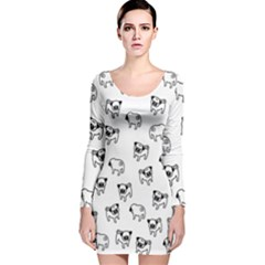Pug dog pattern Long Sleeve Velvet Bodycon Dress