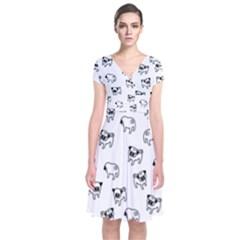 Pug dog pattern Short Sleeve Front Wrap Dress