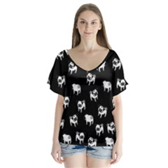 Pug dog pattern Flutter Sleeve Top