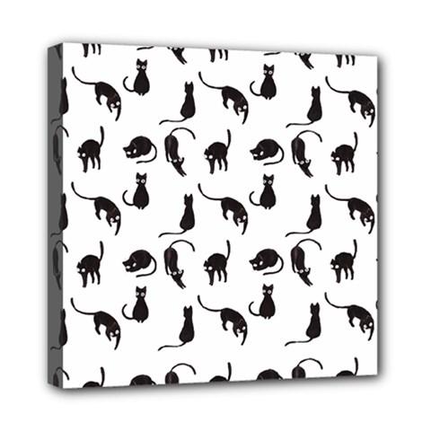 Black cats pattern Mini Canvas 8  x 8