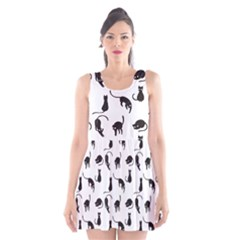 Black cats pattern Scoop Neck Skater Dress