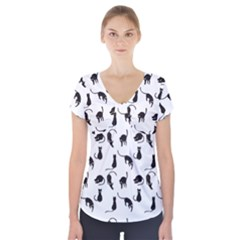 Black cats pattern Short Sleeve Front Detail Top