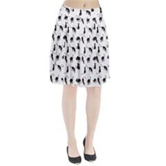 Black cats pattern Pleated Skirt