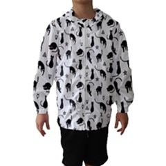 Black cats and witch symbols pattern Hooded Wind Breaker (Kids)