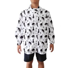 Black cats and witch symbols pattern Wind Breaker (Kids)