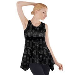 Black cats and witch symbols pattern Side Drop Tank Tunic