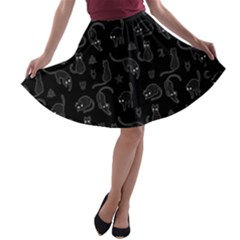 Black cats and witch symbols pattern A-line Skater Skirt