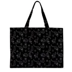 Black cats and witch symbols pattern Large Tote Bag