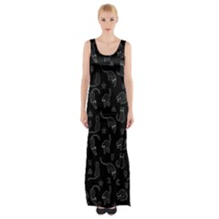 Black cats and witch symbols pattern Maxi Thigh Split Dress
