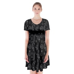 Black cats and witch symbols pattern Short Sleeve V-neck Flare Dress