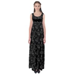 Black cats and witch symbols pattern Empire Waist Maxi Dress