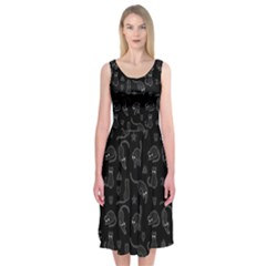 Black cats and witch symbols pattern Midi Sleeveless Dress