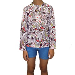 Colorful Abstract Floral Background Kids  Long Sleeve Swimwear