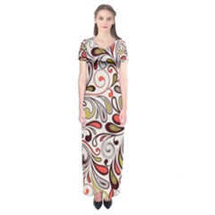 Colorful Abstract Floral Background Short Sleeve Maxi Dress