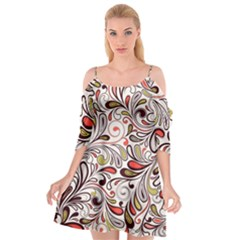 Colorful Abstract Floral Background Cutout Spaghetti Strap Chiffon Dress