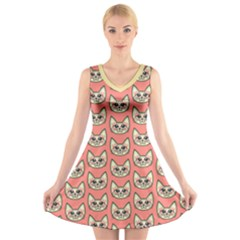 Kawaii Kitty Head V-Neck Sleeveless Dress