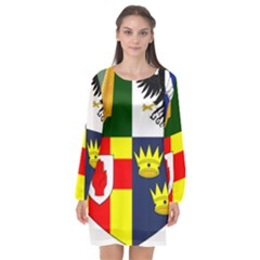 Arms Of Four Provinces Of Ireland  Long Sleeve Chiffon Shift Dress
