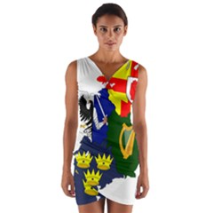 Flag Map of Provinces of Ireland Wrap Front Bodycon Dress