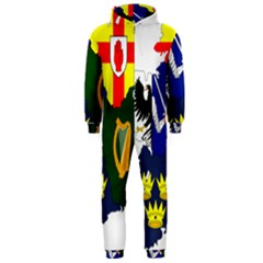 Flag Map of Provinces of Ireland  Hooded Jumpsuit (Men)