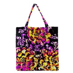 Purple Yellow Flower Plant Grocery Tote Bag