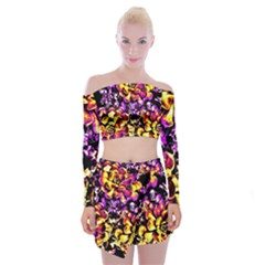 Purple Yellow Flower Plant Off Shoulder Top With Skirt Set