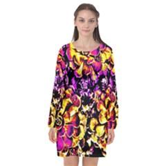 Purple Yellow Flower Plant Long Sleeve Chiffon Shift Dress