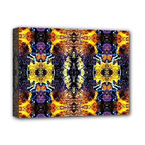 Mystic Yellow Blue Ornament Pattern Deluxe Canvas 16  x 12