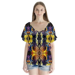 Mystic Yellow Blue Ornament Pattern Flutter Sleeve Top