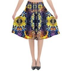 Mystic Yellow Blue Ornament Pattern Flared Midi Skirt