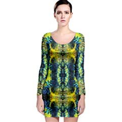 Mystic Yellow Green Ornament Pattern Long Sleeve Bodycon Dress