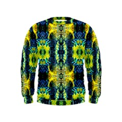 Mystic Yellow Green Ornament Pattern Kids  Sweatshirt