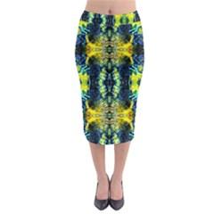 Mystic Yellow Green Ornament Pattern Midi Pencil Skirt